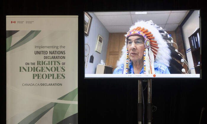Grand Chief Wilton Littlechild speaks via video conference during an announcement about the United Nations Declaration on the Rights of Indigenous Peoples, in Ottawa, Canada, on Dec. 3, 2020. (Adrian Wyld/The Canadian Press)