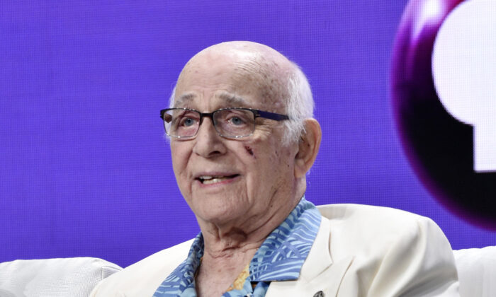 """Gavin MacLeod during a panel discussion on the PBS special """"Betty White: First Lady of Television"""" during the 2018 Television Critics Association Summer Press Tour at the Beverly Hilton in Beverly Hills, Calif on July 31, 2018. (Chris Pizzello/Invision/AP, File)"""