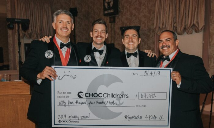 The Moustaches for Kids team includes (from left) President Cary Facer, Vice President Tim Kearns, and board members Michael Streavel and Gianfranco Masdea. (Photo courtesy of Jackie Kearns)