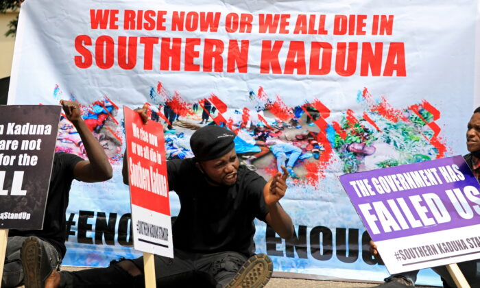 People gather to protest killings in southern Kaduna and insecurities in Nigeria, at the U.S. embassy in Abuja, Nigeria on August 15, 2020. (Afolabi Sotunde/REUTERS)