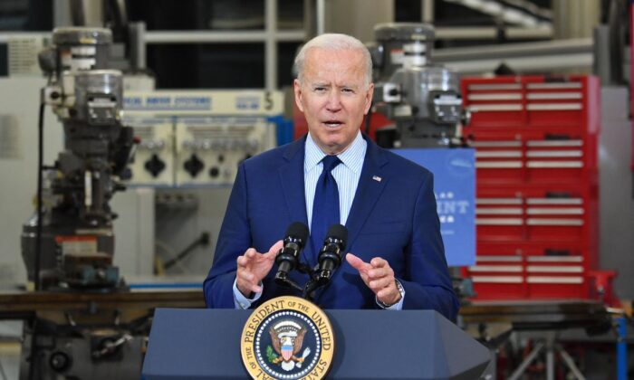 President Joe Biden speaks on the economy at Cuyahoga Community College Manufacturing Technology Center, in Cleveland, Ohio, on May 27, 2021. (Nicholas Kamm/AFP via Getty Images)