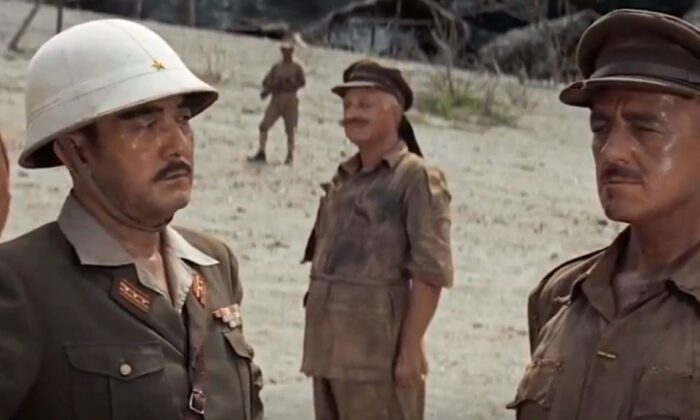 """Sessue Hayakawa (L) and Alec Guinness, as colonels in opposition, in """"The Bridge on the River Kwai."""" (Columbia Pictures)"""