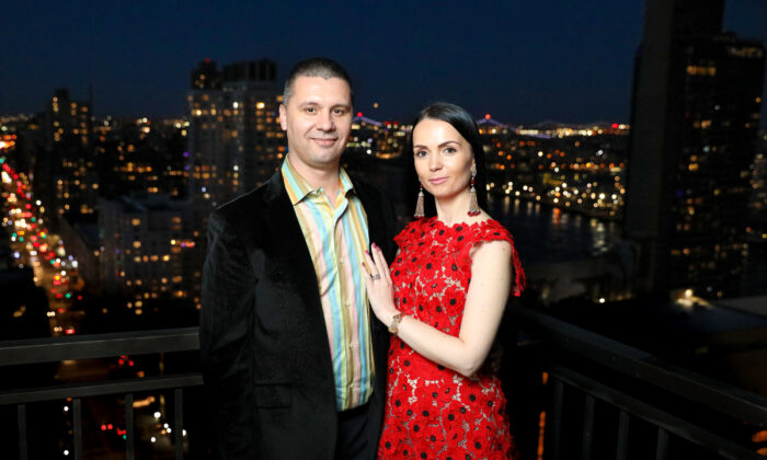 Dorian and Alexandrina Filip, the couple behind DSF Antique Jewelry, at their apartment in New York City. (Samira Bouaou)