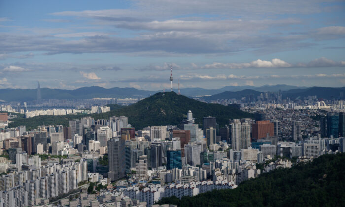 A general view shows the Seoul city skyline from a hilltop viewpoint on July 10, 2020. (ED JONES/AFP via Getty Images)