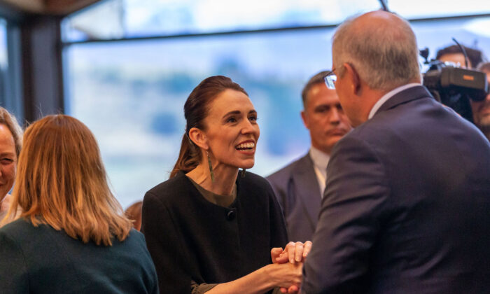 New Zealand Prime Minister Jacinda Ardern meets Australian Prime Minister Scott Morrison in Queenstown, New Zealand on May 30, 2021. (James Allan/Getty Images)