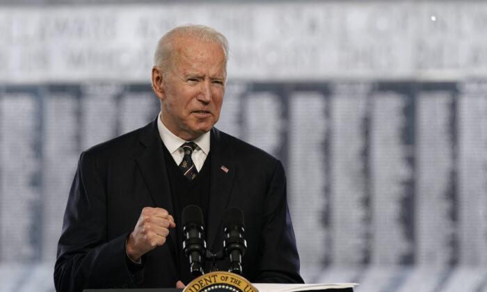 President Joe Biden speaks at a Memorial Day event at Veterans Memorial Park at the Delaware Memorial Bridge in New Castle, Del., on May 30, 2021. (Patrick Semansky/AP Photo)