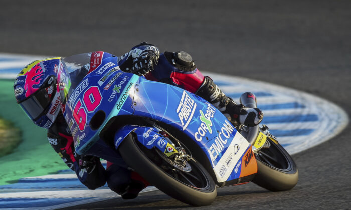 Swiss rider Jason Dupasquier during the Moto3 warm up prior the Spanish Motorcycle Grand Prix race at the Angel Nieto racetrack in Jerez de la Frontera, Spain, on July 19, 2020. (David Clares/File/AP Photo)