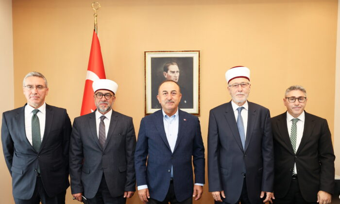 Turkish Foreign Minister Mevlut Cavusoglu meets with clerics and representatives of Muslim community in Komotini, Greece, on May 30, 2021. (Cem Ozdel/Turkish Foreign Ministry /Handout via Reuters)