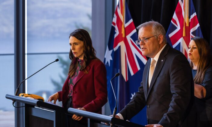 New Zealand Prime Minister Jacinda Ardern and Australian Prime Minister Scott Morrison speak during a joint press conference held at The Nest in Queenstown, New Zealand, on May 31, 2021. Australian Prime Minister Scott Morrison is on a two-day visit to New Zealand attending the annual Australia-New Zealand Leaders' Meeting. (AAP Image/Peter Meecham)