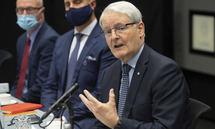 Canadian Foreign Minister Marc Garneau speaks during a meeting with U.S. Secretary of State Antony Blinken at the Harpa Concert Hall in Reykjavik, Iceland, on May 19, 2021. (Saul Loeb/Pool Photo via AP)