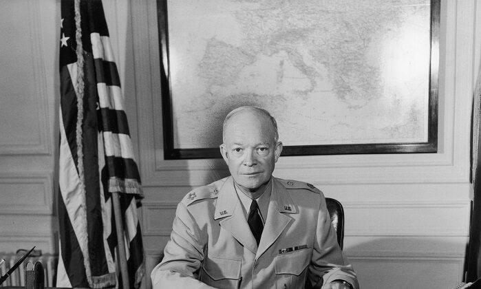 Supreme Allied Commander General Dwight D. Eisenhower at his desk in the Marly headquarters, near Paris. (Hulton Archive/Getty Images)