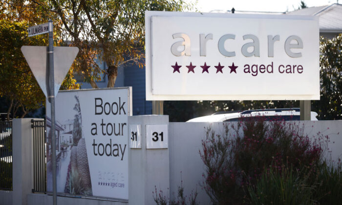 Signage is seen at Arcare aged care facility in Maidstone, where a worker has tested positive to COVID19 on May 30, 2021 in Melbourne, Australia. (Daniel Pockett/Getty Images)
