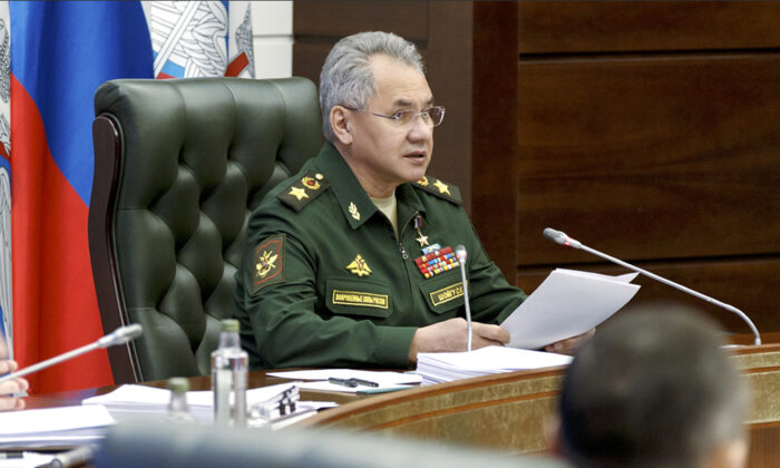 Russian Defense Minister Sergei Shoigu speaks during a meeting with high level military officials in Moscow on May 31, 2021.(Russian Defense Ministry Press Service via AP)