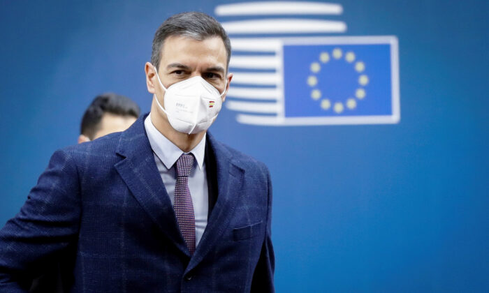 Spanish Prime Minister Pedro Sanchez arrives at the second day of a special EU summit in Brussels on May 25, 2021. (Olivier Hoslet/Pool via Reuters)