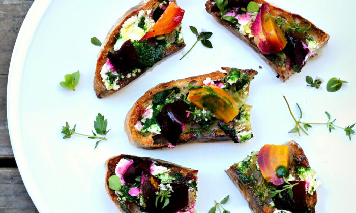 This piece of sandwich art features creamy goat cheese, roasted baby beets, and a vibrant garden pesto. (Lynda Balslev for Tastefood)
