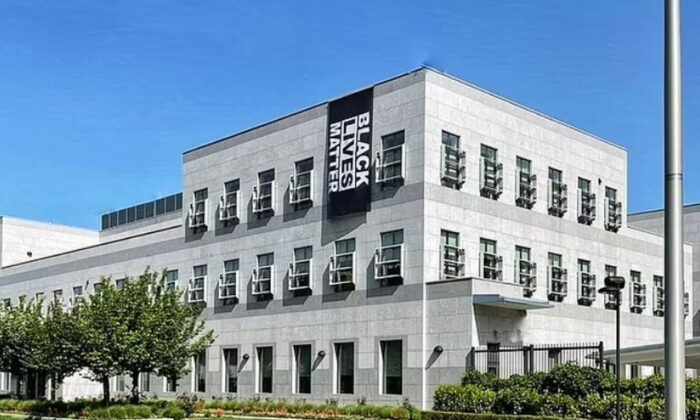 A Black Lives Matter banner hanging over the U.S. Embassy in Bosnia and Herzegovina in a file photo. (U.S. Embassy in Bosnia and Herzegovina)
