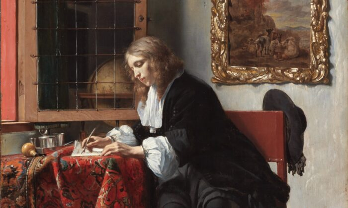 """Classical poetry is not just written by those long dead. A detail from Gabriel Metsue's 1665 painting """"Man Writing a Letter,"""" 1665. National Gallery of Ireland. (Public Domain)"""