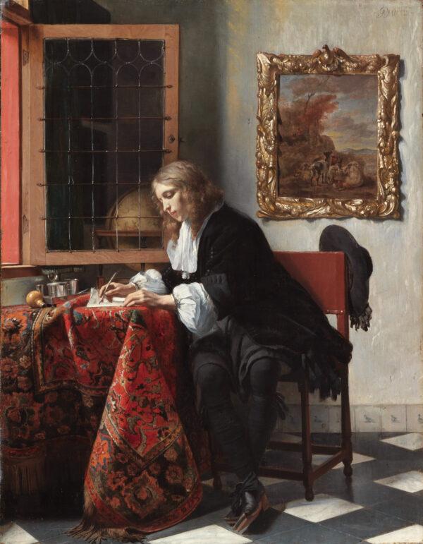 Man writing a letter, by Gabriël Metsu