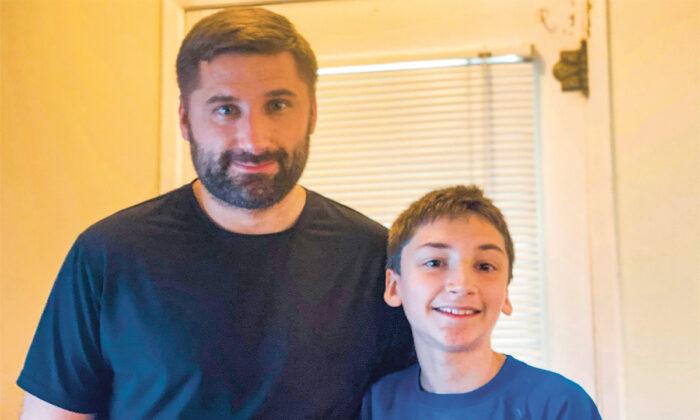 Joe McCrea with his son Joel on May 31, 2020. Joel's family believes prayer healed the 12-year-old's potentially life-threatening brain blood vessel disorder. (Courtesy of Joe Mc Crea)