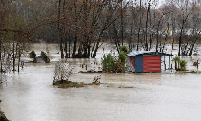 A general view of the flooded rest area at Waimakariri River in Kaiapoi, New Zealand, on May 31, 2021. (Kai Schwoerer/Getty Images)