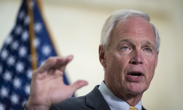 Sen. Ron Johnson (R-Wis.) speaks on Capitol Hill in Washington on May 26, 2021. (Drew Angerer/Getty Images)