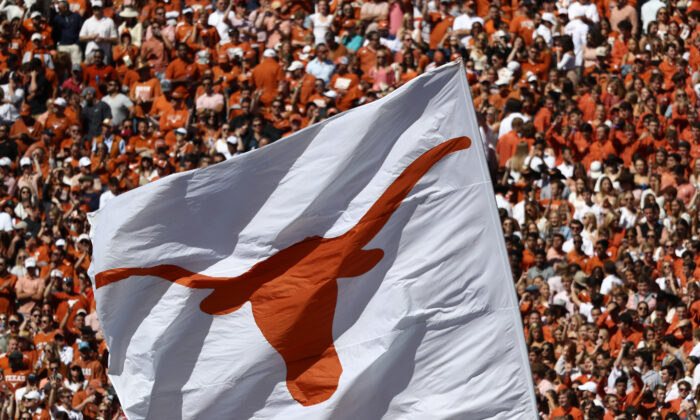 A Texas Longhorns flag during the 2019 AT&T Red River Showdown at Cotton Bowl in Dallas, Texas, on Oct. 12, 2019. (Ronald Martinez/Getty Images)