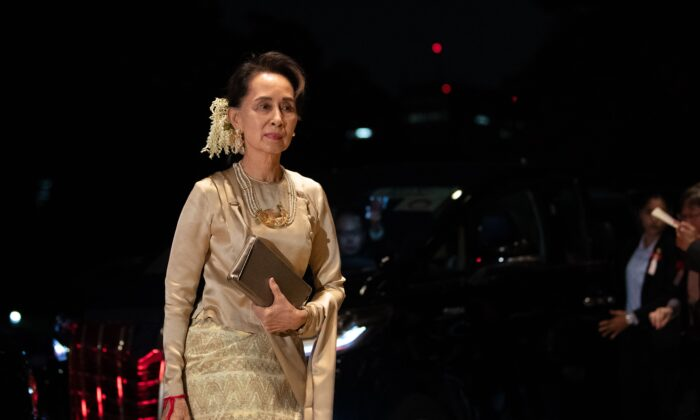 Burma's leader Aung San Suu Kyi arrives at the Imperial Palace for the court banquet in Tokyo, Japan, on Oct. 22, 2019. (Pierre Emmanuel Deletree/POOL/AFP via Getty Images)