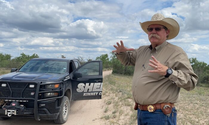Kinney County Sheriff Brad Coe talks about the impact of the border crisis in his county, in Brackettville, Texas, on May 23, 2021. (Charlotte Cuthbertson/The Epoch Times)