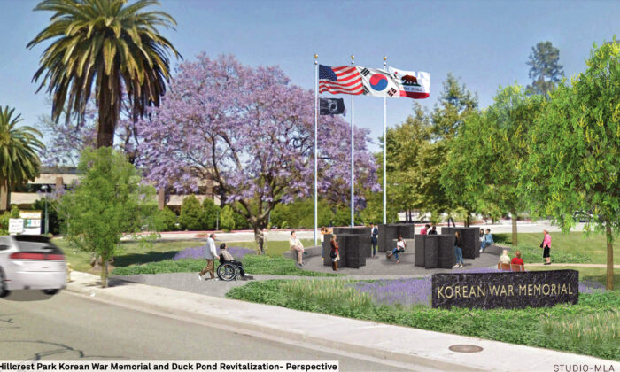 A sceenshot shows a rendering of the proposed Korean War Memorial in Fullerton, Calif. (Courtesy of the city of Fullerton)