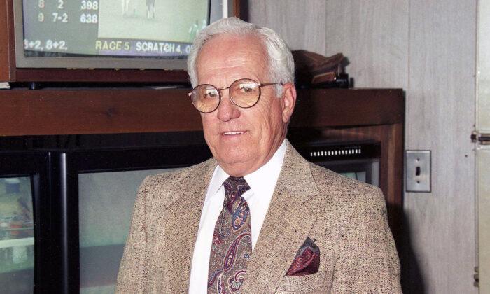 Former Jockey and New Jersey State Steward Sam Boulmetis, Sr.in the Stewards Office at Monmouth Park Racetrack in Oceanport, NJ on June 11, 1995. (Bill Denver/EQUI-PHOTO)