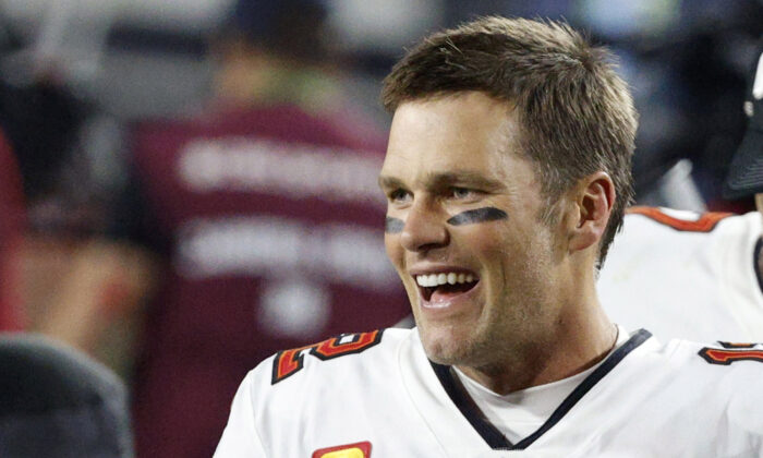 Tampa Bay Buccaneers' Tom Brady after winning the Super Bowl LV at Raymond James Stadium in Tampa, Fla., on Feb. 7, 2021. (Eve Edelheit/Reuters)