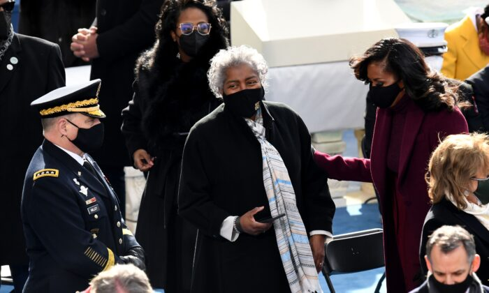 Former Democratic National Committee Chairwoman Donna Brazile, center, attends the inauguration of Joe Biden in Washington on Jan. 20, 2021. (Olivier Douliery/AFP via Getty Images)