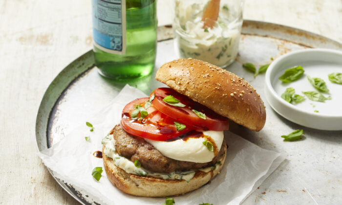 This turkey burger features all the flavors of a caprese salad. (Brie Passano/TNS)