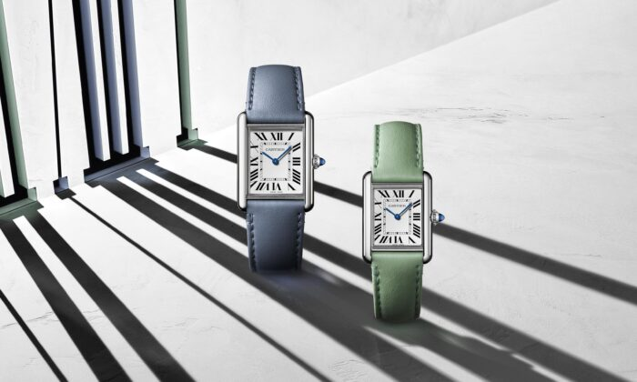 Cartier's Tank Must line. The watches have photovoltaic cells that run on solar energy. (Courtesy of Cartier)