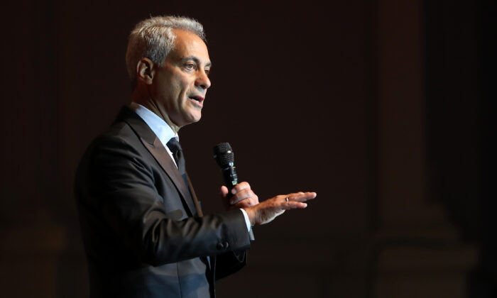 Then-Chicago Mayor Rahm Emanuel addresses the audience during the Laver Cup Gala at the Navy Pier Ballroom in Chicago on Sept. 20, 2018. (Matthew Stockman/Getty Images for The Laver Cup)