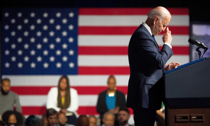 President Joe Biden prays during a moment of silence during commemorations of the 100th anniversary of the Tulsa Race Massacre, in Tulsa, Oklahoma, on June 1, 2021. (Brandon Bell/Getty Images)