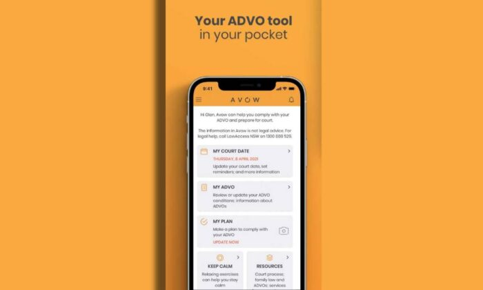New Avow app to help offenders comply with Apprehended Domestic Violence Orders in New South Wales, Australia. (Supplied)