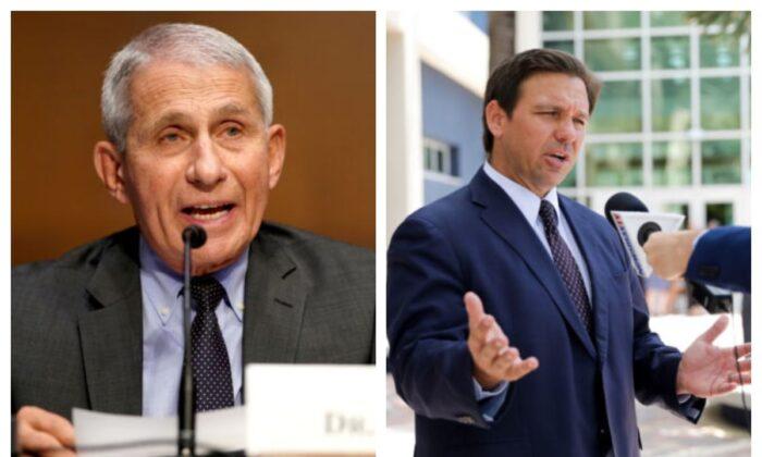 Dr. Anthony Fauci (L) and Florida Gov. Ron DeSantis (R). (Greg Nash/Pool via Reuters; Samira Bouaou/The Epoch Times)