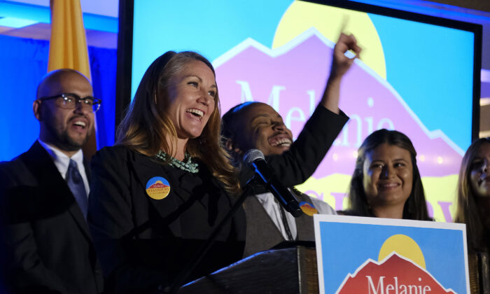 Melanie Stansbury addresses supporters after winning the election in New Mexico's 1st Congressional District race to fill former U.S. Rep. Deb Haaland's seat, at the Hotel Albuquerque in Albuquerque, N.M., on June 1, 2021. (Adolphe Pierre-Louis/The Albuquerque Journal via AP)