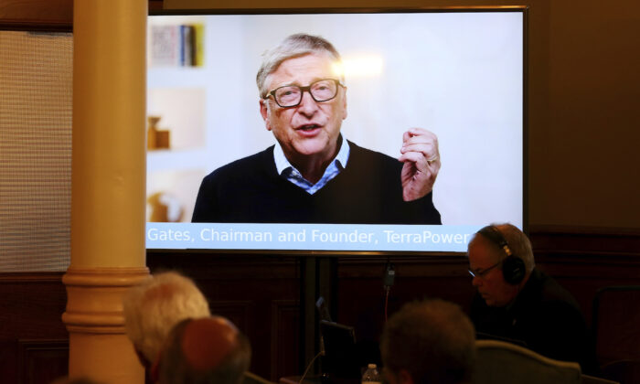 TerraPower Founder and Chairman Bill Gates speaks in a recorded video message at a press conference in Cheyenne, Wyo., on June 2, 2021. (Michael Cummo/The Wyoming Tribune Eagle via AP)