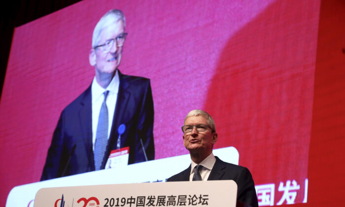 Apple CEO Tim Cook speaks during the Economic Summit held for the China Development Forum in Beijing on March 23, 2019. (Ng Han Guan/AFP via Getty Images)