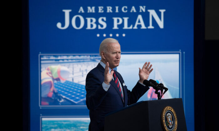 President Joe Biden speaks about infrastructure investment from the Eisenhower Executive Office Building on the White House on April 7, 2021. (Brendan Smialowski/AFP via Getty Images)