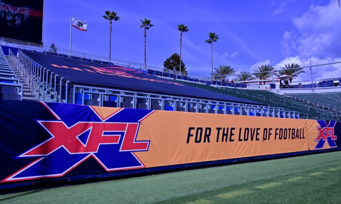 XFL banner is seen at Dignity Health Sports Park in Carson, Calif., on March 8, 2020. (John McCoy/Getty Images)