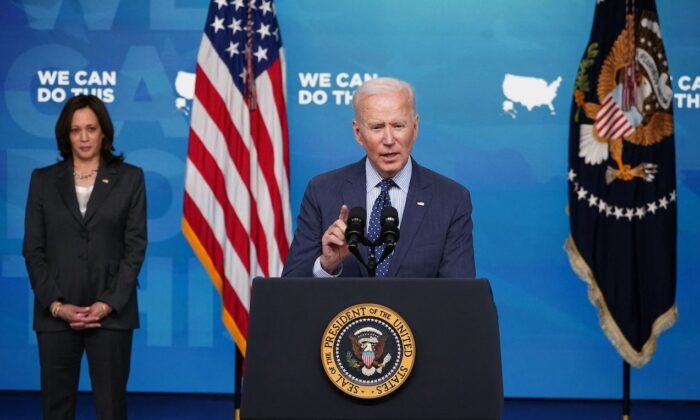 President Joe Biden, with Vice President Kamala Harris, speaks in the South Court Auditorium of the Eisenhower Executive Office Building, next to the White House, in Washington, on June 2, 2021. (Mandel Ngan/AFP via Getty Images)