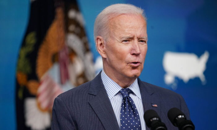 President Joe Biden speaks on COVID-19 response and vaccinations in the South Court Auditorium of the Eisenhower Executive Office Building, next to the White House, in Washington on June 2, 2021. (Mandel Ngan/AFP via Getty Images)