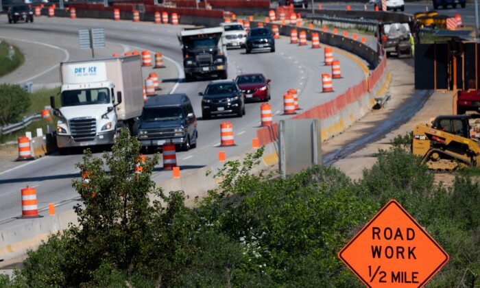 Traffic flows through a construction area near the Bay Bridge in Annapolis, Md., on May 21, 2021. (Jim Watson/AFP via Getty Images)