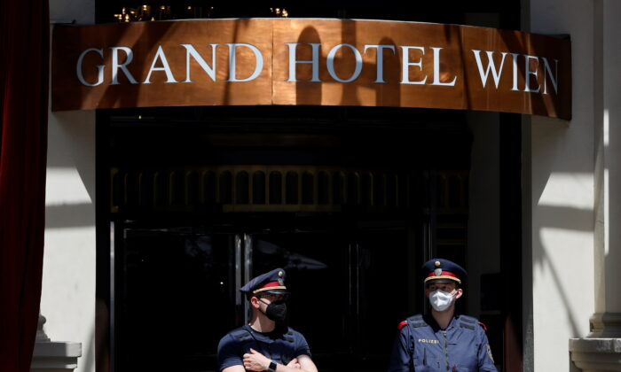 Police stand outside the hotel where a meeting of the Joint Commission of the Joint Comprehensive Plan of Action (JCPOA) is held, in Vienna, Austria, on Jun 2, 2021. (REUTERS/Leonhard Foeger)