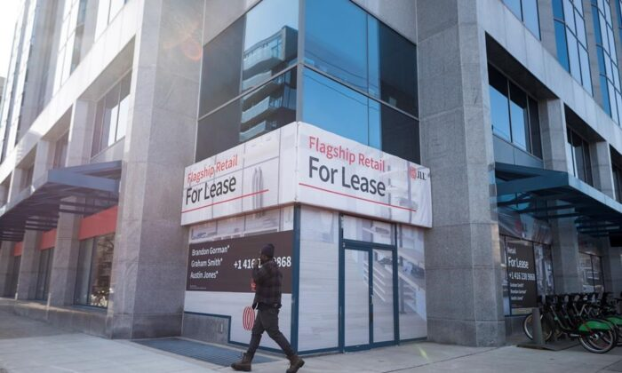 A commercial retail space is advertised for lease along King Street West in Toronto on March 9, 2021. Statistics Canada will say today how the job market fared in May as lockdowns to slow the pandemic continued to keep many businesses closed. (The Canadian Press/Tijana Martin)