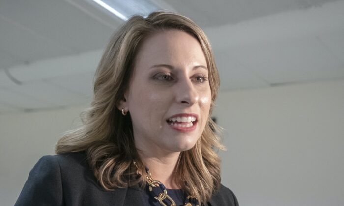 Rep. Katie Hill (D-Calif.) is seen on Capitol Hill in Washington on April 3, 2019. (J. Scott Applewhite/AP Photo)