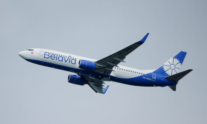 A Boeing 737-800 plane of Belarusian state carrier Belavia takes off at the Domodedovo Airport outside Moscow on May 28, 2021.  (Maxim Shemetov/Reuters)